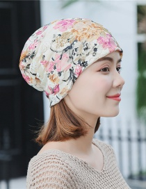 Fashion Beige Lace Double-layered Pile Head Cap