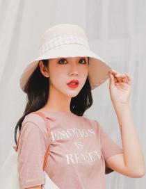 Fashion Beige Sun Protection Lattice Bottom Folding Fisherman Hat