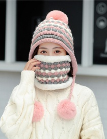 Fashion Pink Suit Hair Ball Knitted Wool Cap