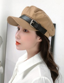 Fashion Camel Belt Stitching Military Cap