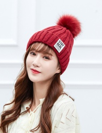 Fashion Red Wine Labeling Large Wool Ball Knitted Wool Cap