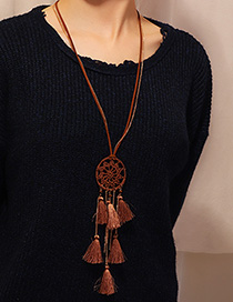 Fashion Coffee Color Dream Catcher Tassel Woven Necklace