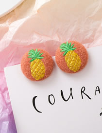 Fashion Pineapple Embroidered Plush Round Fabric Hair Ball Stud Earrings