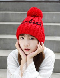 Fashion Red Letter Embroidery Wool Ball Knitted Wool Cap