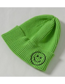 Fashion Fluorescent Green Knit Hat Embroidery Smiley Wool Child Cap