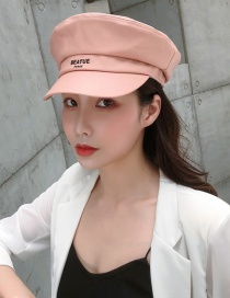 Fashion Pink Pu Leather Flat Navy Cap