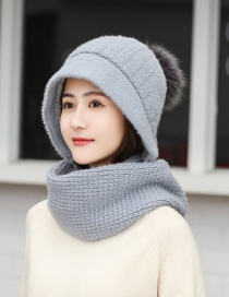 Fashion Gray Plaid Knitted Woolen Hat Scarf One Set