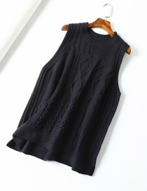 Fashion Black Stranded Round Neck A Version Wool Vest