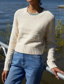 Fashion Creamy-white Sweater Wearing A Pullover Short Sweater