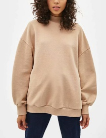 Fashion Beige Solid Color Plus Velvet Sweater