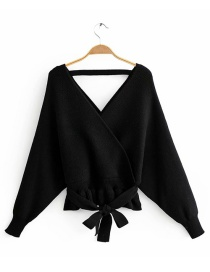 Fashion Black Front And Rear V-neck Sweater