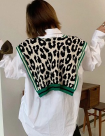 Fashion Green Knotted Leopard Knit Shawl Vest