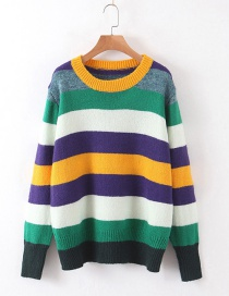 Fashion Color Striped Casual Sweater