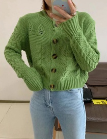 Fashion Green Short Knit Cardigan With Leaves