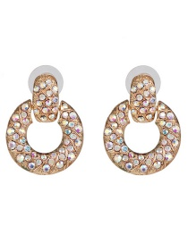 Fashion Gold Geometric Mosaic Diamond Stud Earrings