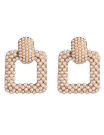 Fashion Gold Geometric Mosaic Pearl Stud Earrings