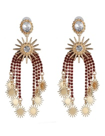 Fashion Red Claw Chain Studded Tassel Starry Earrings