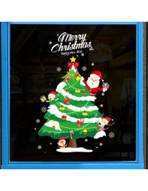 Fashion Color Christmas Tree Santa Claus Wall Sticker
