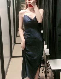 Fashion Navy Pleated Split Dress