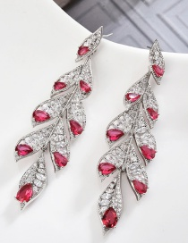 Fashion Silver S925 Sterling Silver Needle Feather Micro-inlaid Zircon Earrings