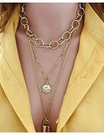 Fashion Gold Sun Flower Smiley Lock Chain Multi-layer Necklace