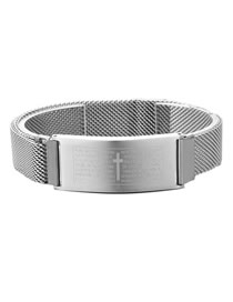 Fashion Steel Color Stainless Steel Scripture Cross Magnetic Buckle Bracelet
