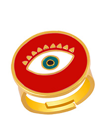 Fashion Red Drip Oil Eye Round Ring Open Ring