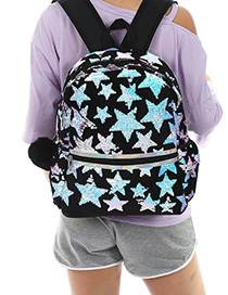 Fashion Black Cartoon Laser Sequin Star Backpack
