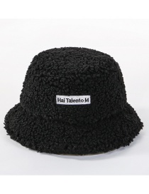Fashion Black Wool Velvet Letter Cap