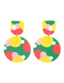 Fashion Round Resin Color Matching Geometric Earrings