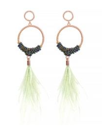 Fashion Mint Color Alloy Rice Beads Feather Earrings