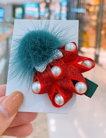 Fashion Red Christmas Tree Landscape Blue Hair Ball Christmas Imitation Pearl Hairpin