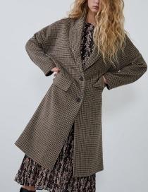Fashion Brown Houndstooth Woolen Coat