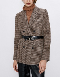 Fashion Brown Plaid Wool Suit