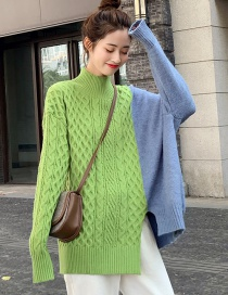 Fashion Green Contrast Stitching High Collar Twist Sweater