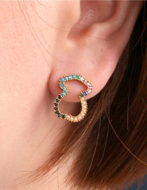 Fashion Color Micro-inlaid Copper Plated Diamond Bear Hollow 8 Word Earrings