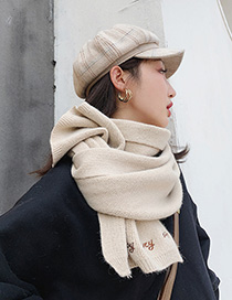 Fashion Beige Knitted Letter Scarf
