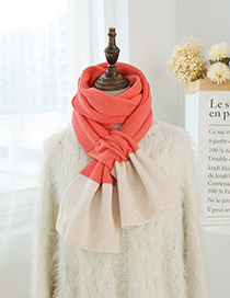 Fashion Watermelon Red Rice Color Matching Knitted Wool Scarf
