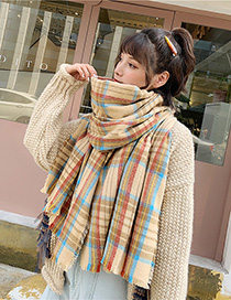Fashion Khaki Vertical Stripes Fringed Plaid Imitation Cashmere Shawl Scarf