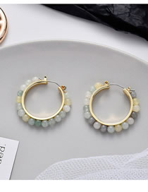 Fashion Color Mixing Round Gradient Beads Woven Earrings