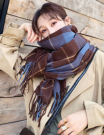 Fashion Blue Cashmere Plaid Scarf Shawl