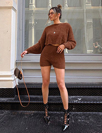 Fashion Brown Long Sleeve Round Neck Sweater High Waist Short Suit