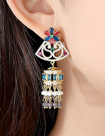 Fashion Color Fringed Bells And Cubic Zircon Earrings