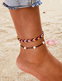 Fashion Black Woven Color String Pearl Anklet 2 Piece Set