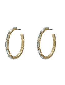 Fashion Gold Metal Crystal C-shaped Earrings