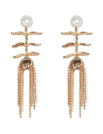 Fashion Gold Alloy Fringed Stud Earrings
