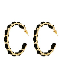 Fashion Gold Flannel Metal Chain Open Circle Earrings