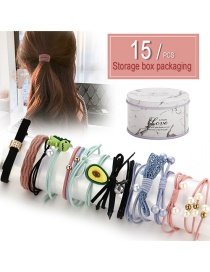 Fashion Color Cartoon Hair Ring 15 Piece Set