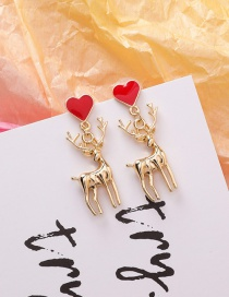 Fashion Christmas Elk Love Cartoon Alloy Earrings