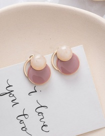 Fashion Pink 925 Silver Needle Geometric Amber Pattern Earrings Nail